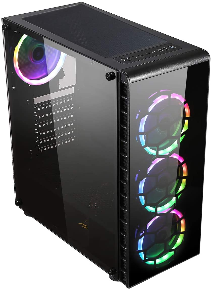 ADMI Gaming PC: Ryzen 2600 6 Core CPU, GTX 1650 4GB, 1TB HDD, 8GB 2400MHz, Raider Glass RGB LED Gaming Case, 300mbps Wifi, Windows 10
