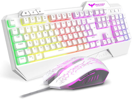 Gaming Keyboard UK Layout HAVIT Rainbow LED Backlit Wired Keyboard and Mouse Combo Set