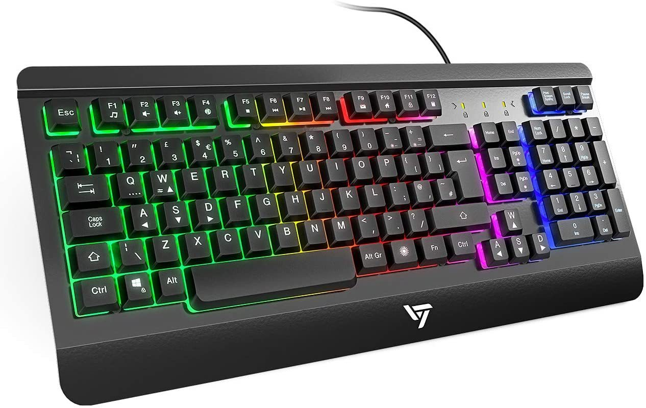 VicTsing Gaming Keyboard Ultra-Slim All-Metal Frame USB Wired with Comfortable Wrist Rest