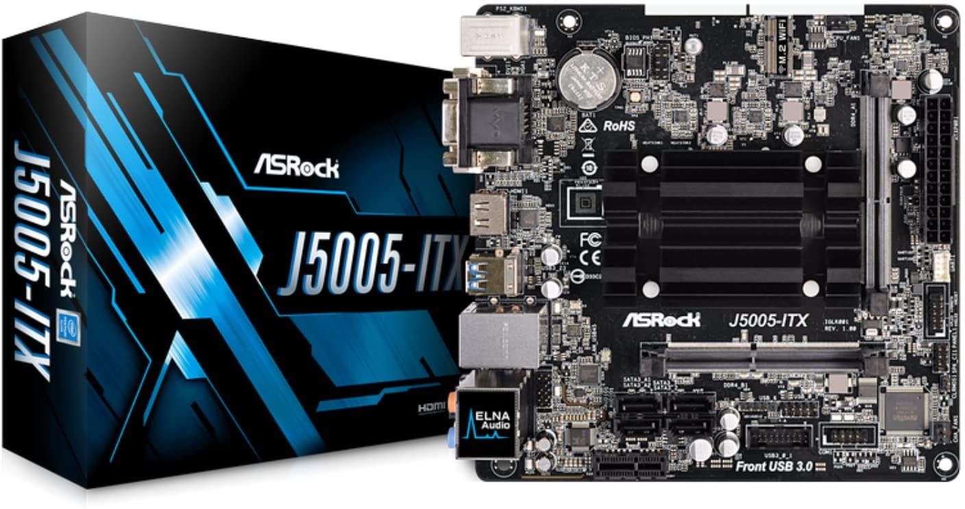 ASRock J5005-ITX Intel Quad-Core Pentium Silver Processor (Up to 2.8 GHz) Motherboards