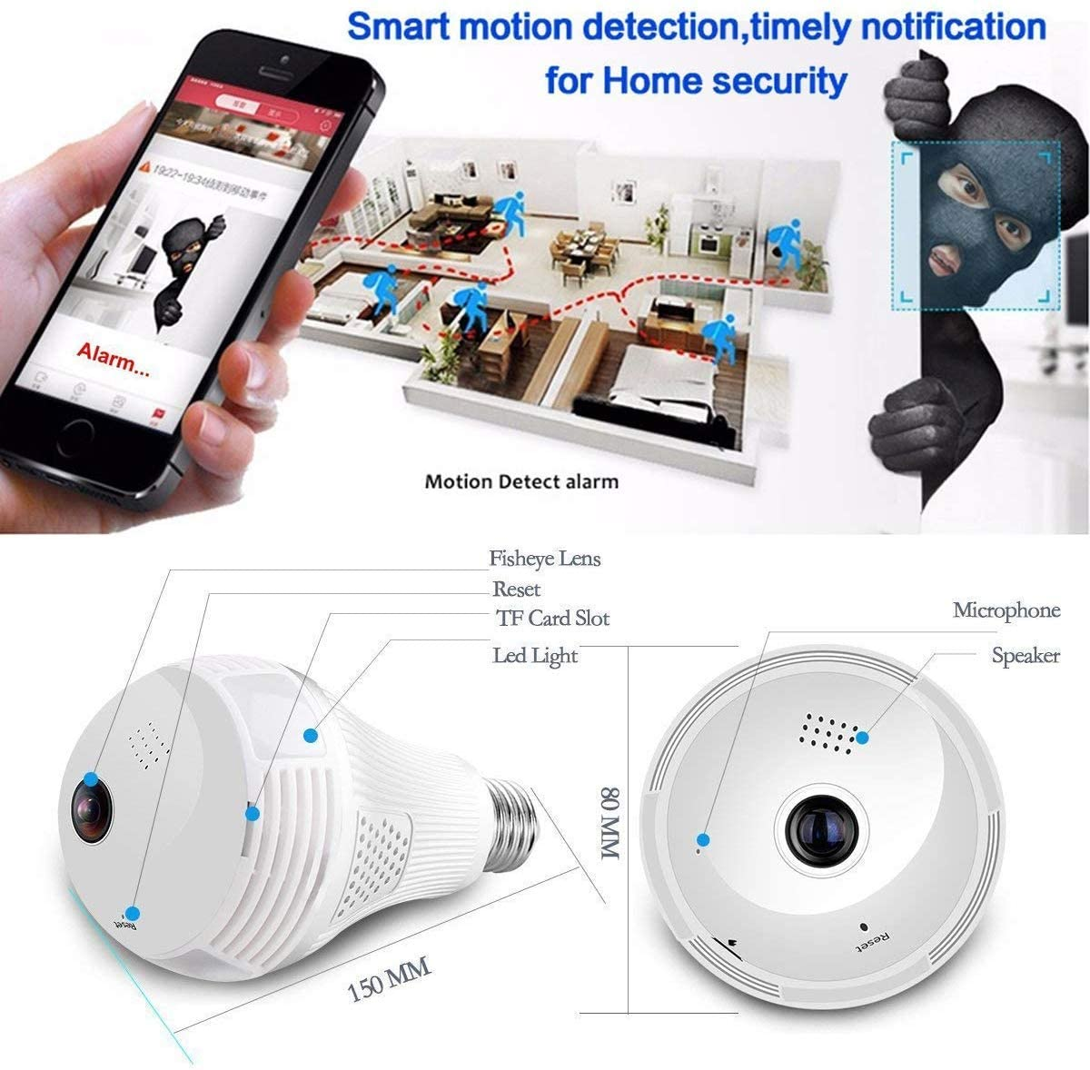 960P 360 degrees Wireless IP Camera Bulb Light