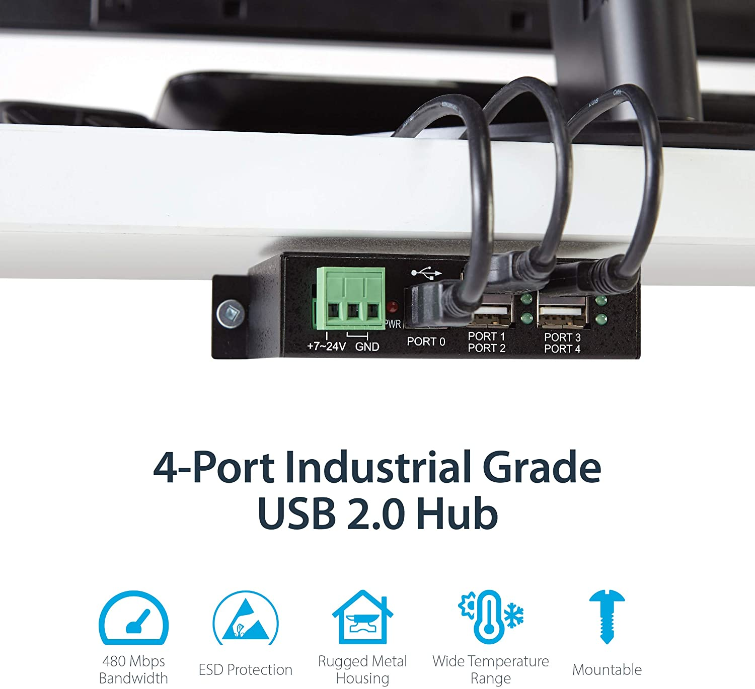4-Port Industrial USB 2.0 Hub w/ ESD Protection Mountable Multiport Hub