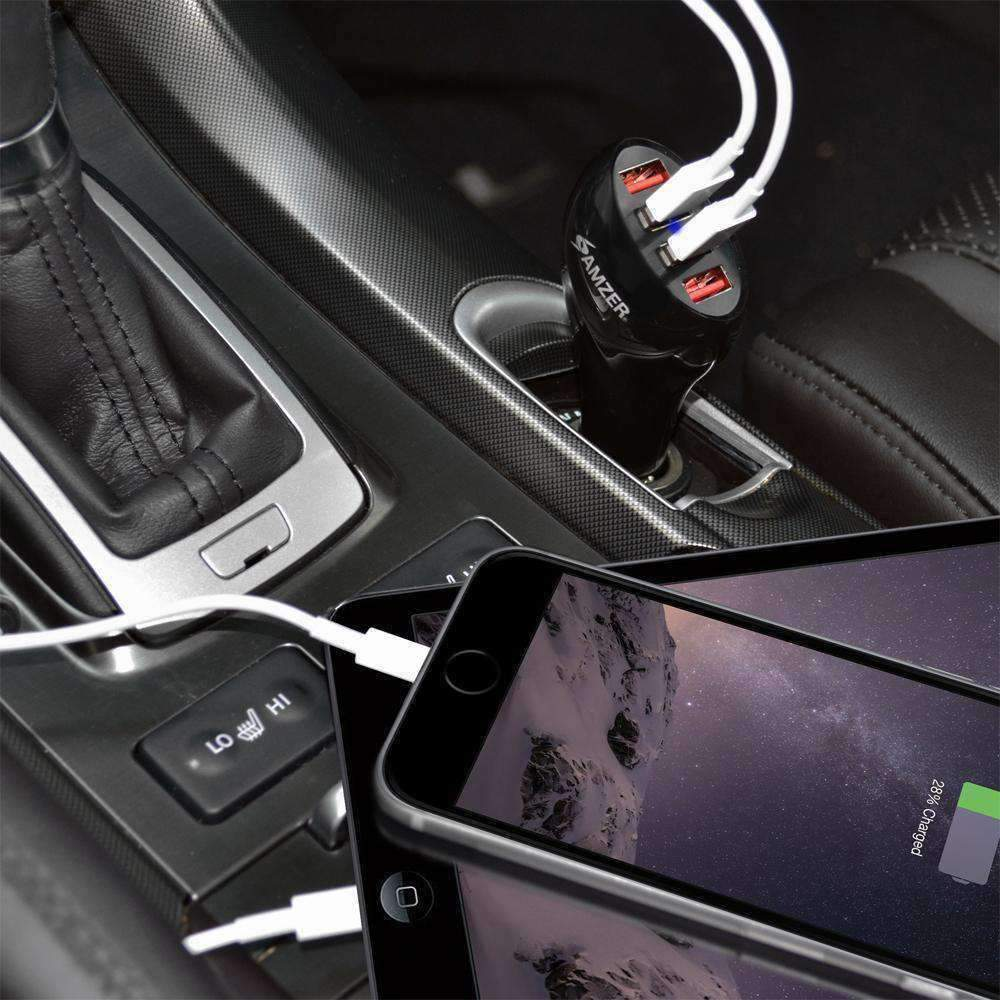 USB Car Charger 4-Ports 10A/50W Rapid Charge for Smartphones & Tablets