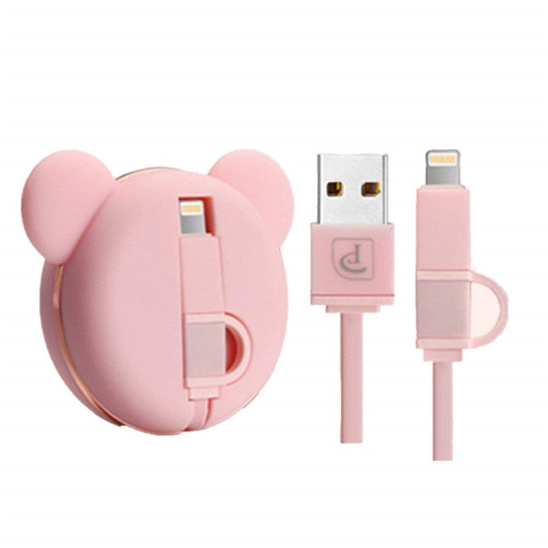 Retractable USB Charger 1 Meter Cable 2 in 1 High Speed Charging for iOS & Android