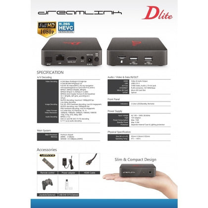 Dreamlink Dlite - HD  Android Set Top Box Receiver EU/UK/US Power