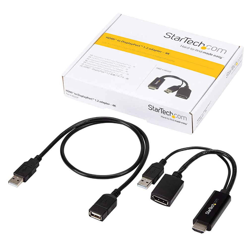 Startech This 4k Hdmi To Displayport Cable With Usb Power Lets You Connect An HDMI Video