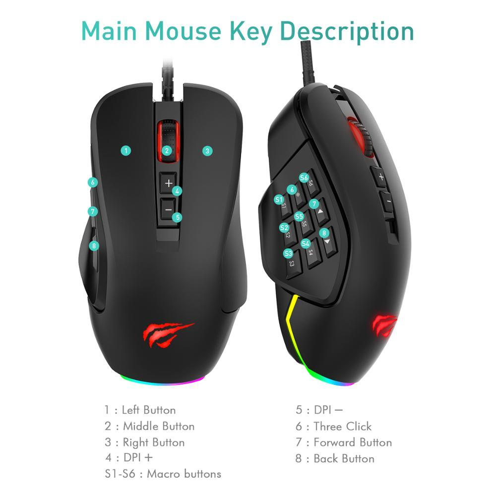 Gaming Mouse 10000 DPI Wired Mice 14 Buttons
