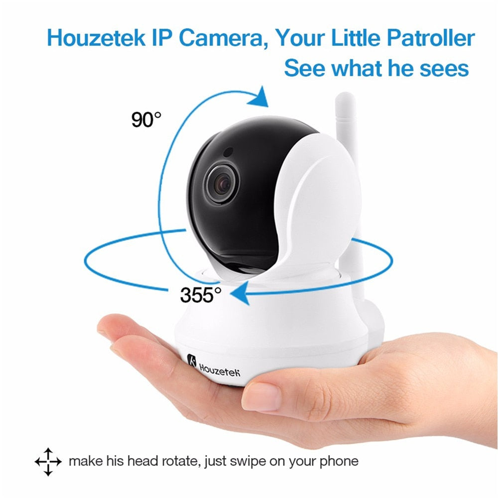 Houzetek Wireless Baby Monitor With Wifi 720P HD Camera Baby Sleeping Monitor Nanny Night Vision IP Webcam Support IOS/Android