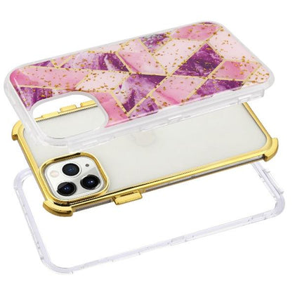 Purple Gold Marble Hybrid Phone Case iPhone 11 Pro