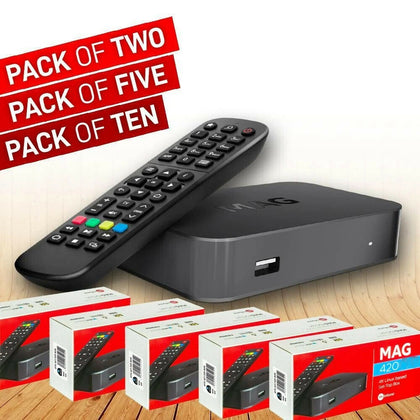 Latest MAG420  Bundle Packs of 2/5/10 + Free USB WiFi Antenna Infomir 4K Set-Top Box