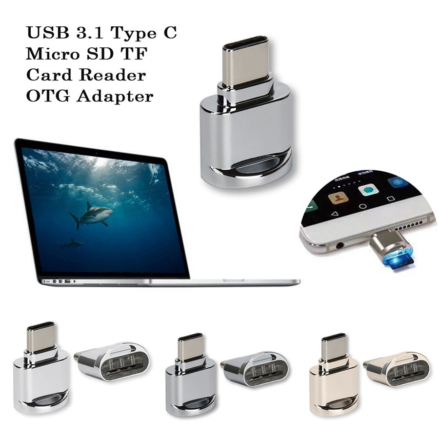 Metal USB 3.1 Type C SD TF Card Reader OTG Adapter