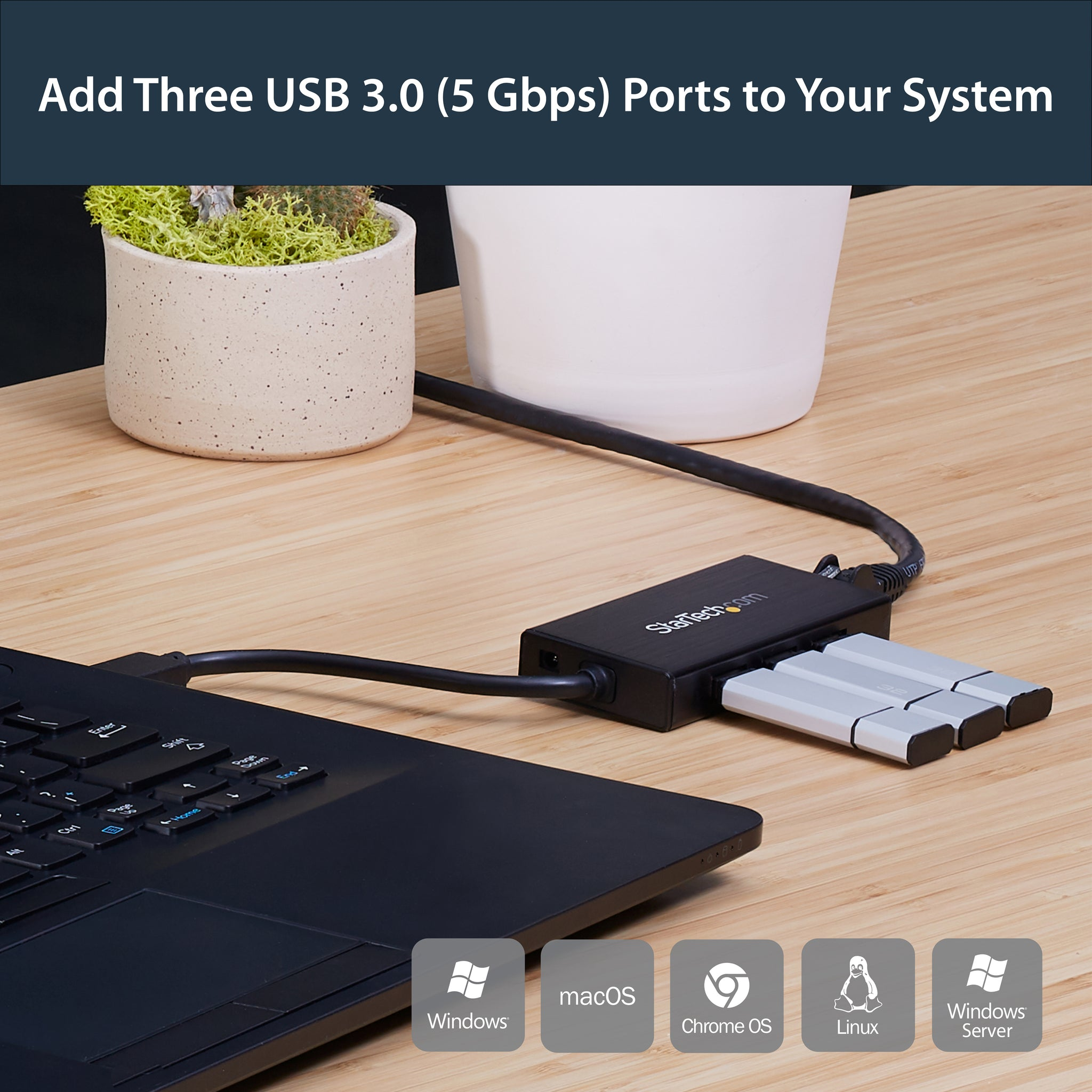 StarTech.com 3 Port Portable USB 3.0 Hub with Gigabit Ethernet Adapter NIC - Aluminum w- Cable