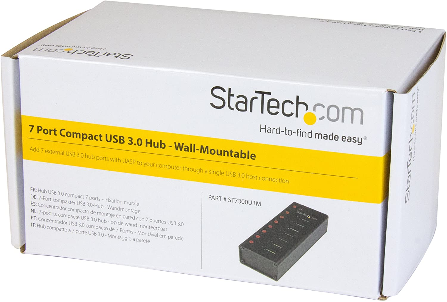 StarTech.com 7 Port USB 3.0 Hub - Desktop or Wall-mountable Metal Enclosure