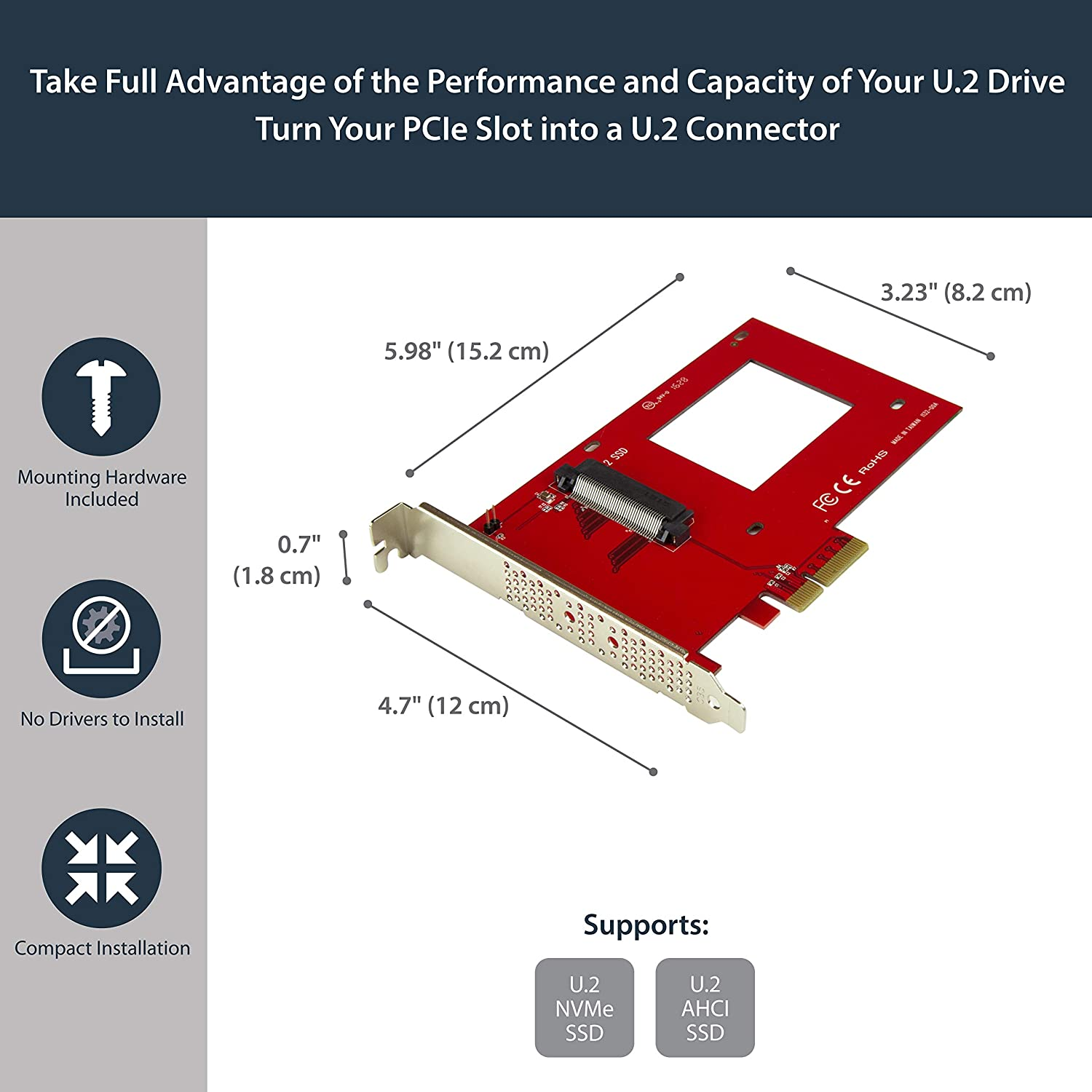 StarTech.com U.2 to PCIe Adapter for 2.5