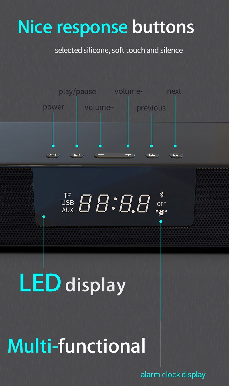 Wireless Charging LED Alarm Clock Display Bluetooth Speaker