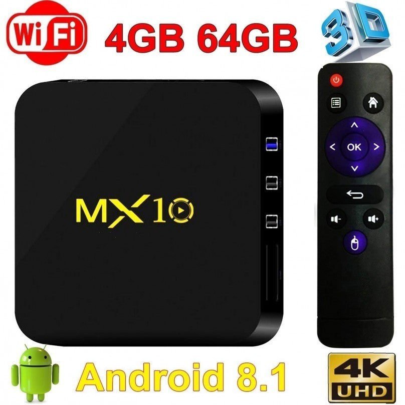 MX10 Android 8.1 Smart TV BOX 4G+64G Quad Core RK3328 h.265 WiFi 4K Media Player