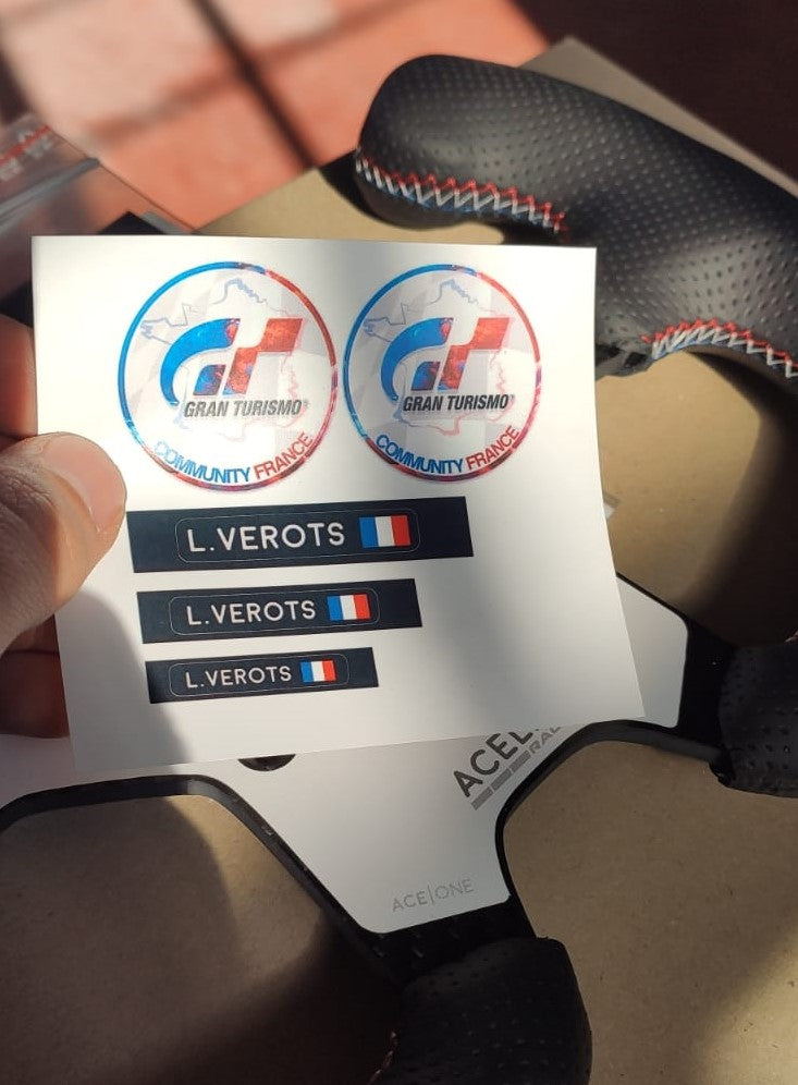 "Custom logo and ""name and flag"" stickers"