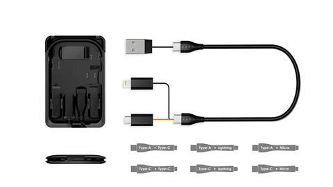 KableCARD travel accessories and charging cables in black