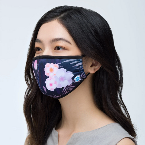 1929 Black Floral Antimicrobial Mask