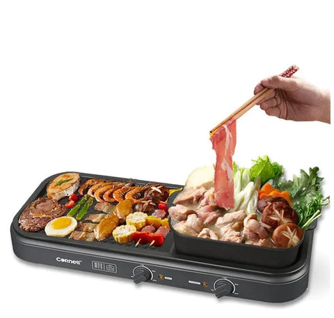 2-in-1 Steamboat BBQ Non-stick Grill Hot Pot Set