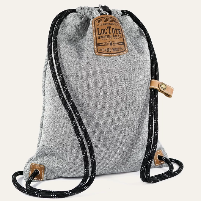 Loctote Flak Sack II - Theft-Resistant Drawstring Backpack front view in grey