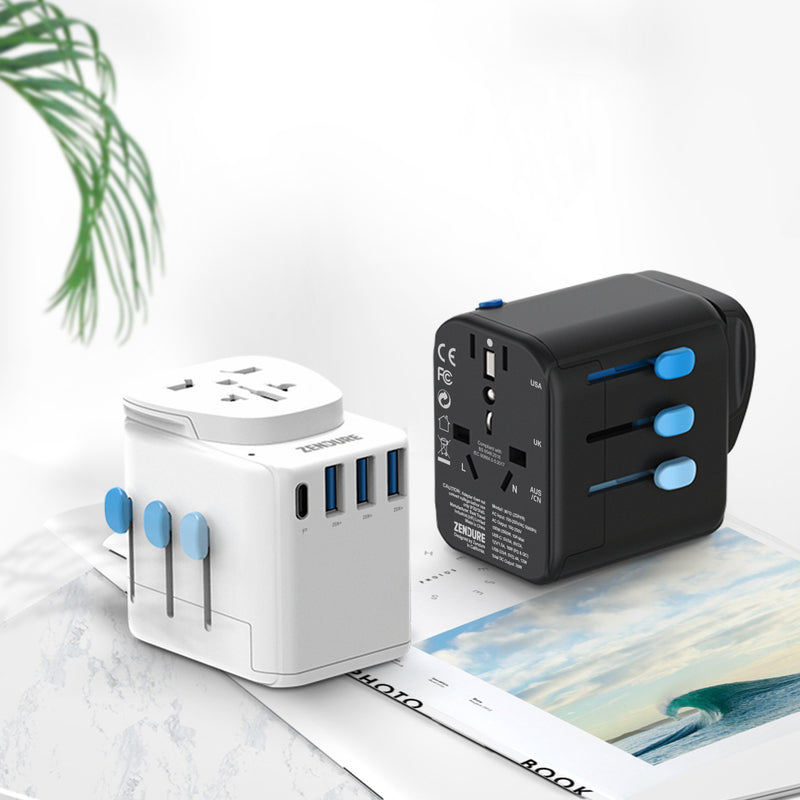 Zendure Passport Pro Travel Adapter – Works in 200 countries in white and black
