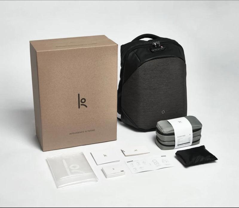 ClickPack Basic by Korin – Secure, Multi-functional Backpack view with packaging and accessories