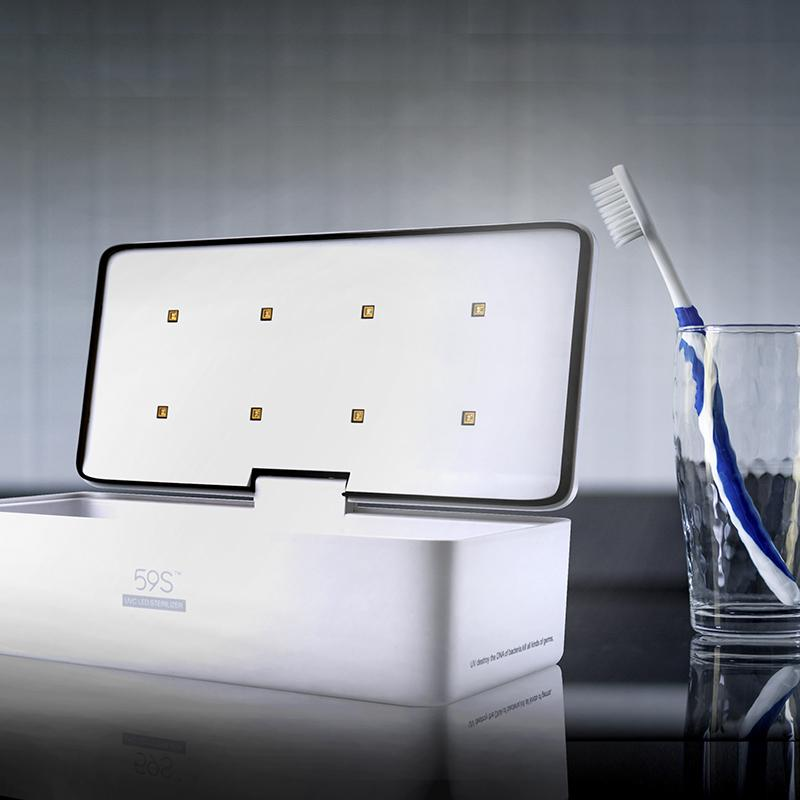 59S UVC LED All-Purpose Sterilizer Box S2 (White) disinfects toothbrushes
