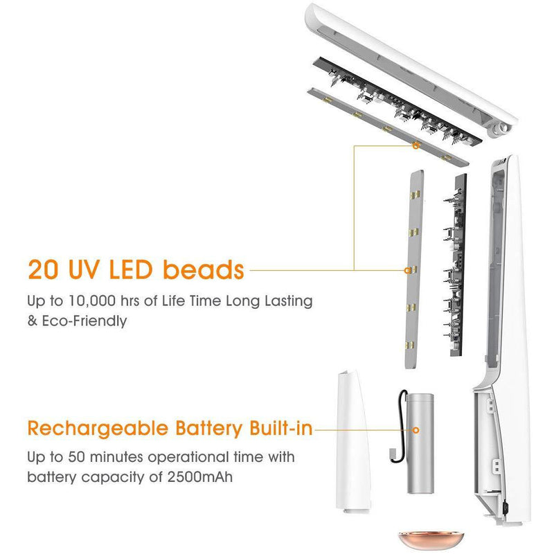 59S UVC LED Sterilizing Wand X5 (White)'s 20 UV LED beads and rechargeable built-in battery