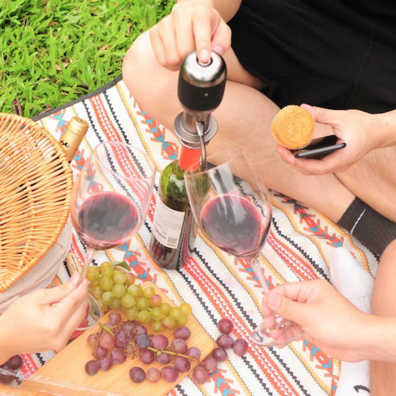 Vinaera Pro Instant Adjustable Electronic Wine Aerator portable and lightweight perfect for picnics