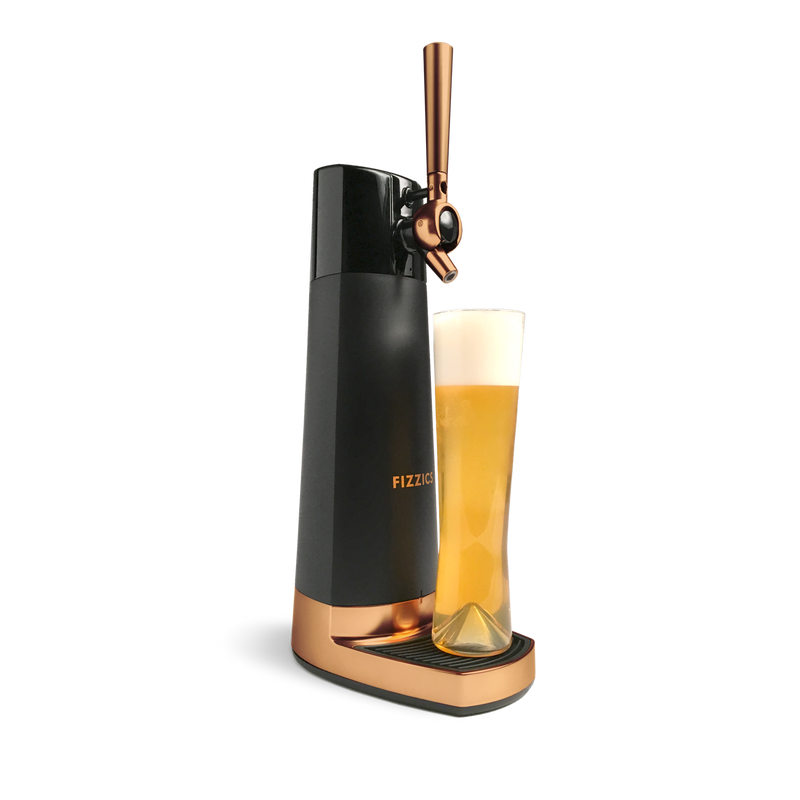 Fizzics DraftPour – Portable and Fresh Beer Nitro-Style with tall glass of beer