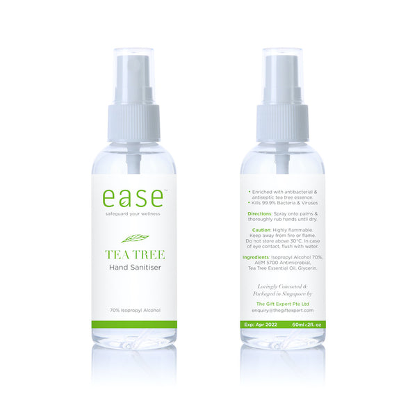EASE™ Hand Sanitizer in Tea Tree (60 ml) - Kills 99.9% Viruses in 30 Seconds