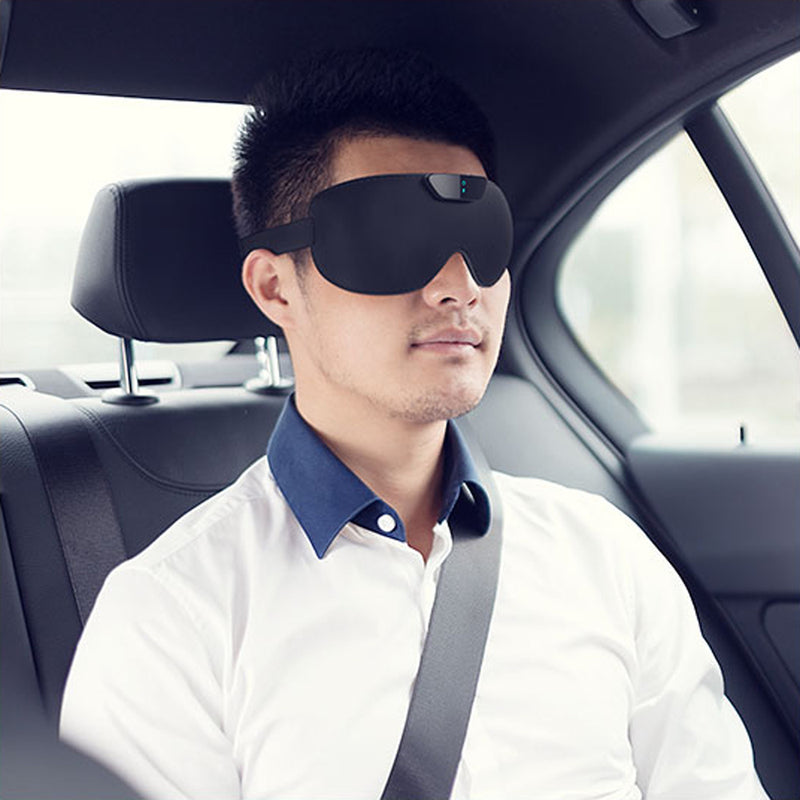 SleepMagic - Smart Anti-Snoring Eye Mask + Sleep Data, man wearing SleepMagic eye mask while in car