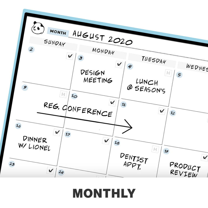 Rocketbook Panda Planner - Reusable & Cloud-Connected monthly calendar planner