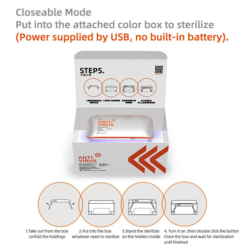 59S UV LED Portable Sterilizer X1 (Silver With Orange) closeable mode