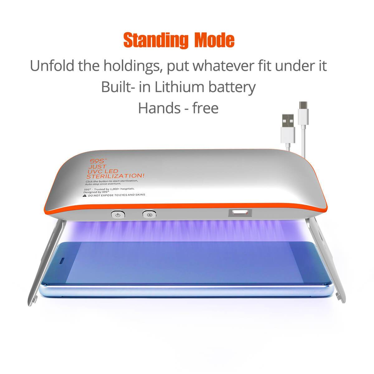 59S UV LED Portable Sterilizer X1 (Silver With Orange) standing mode
