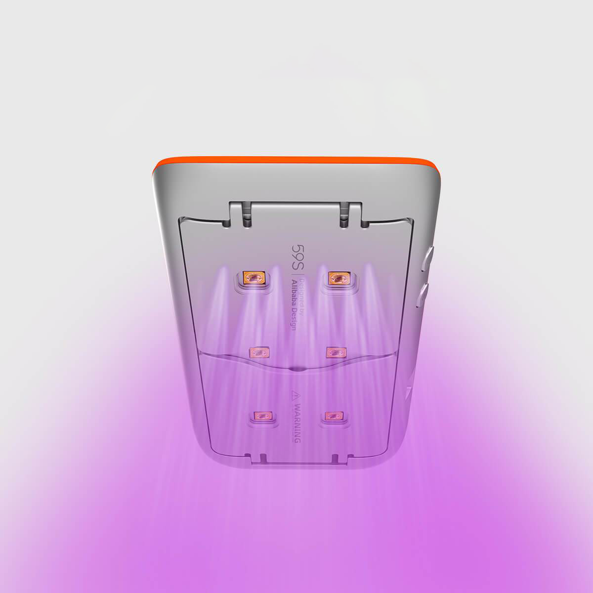 59S UV LED Portable Sterilizer X1 (Silver With Orange) UV light rays