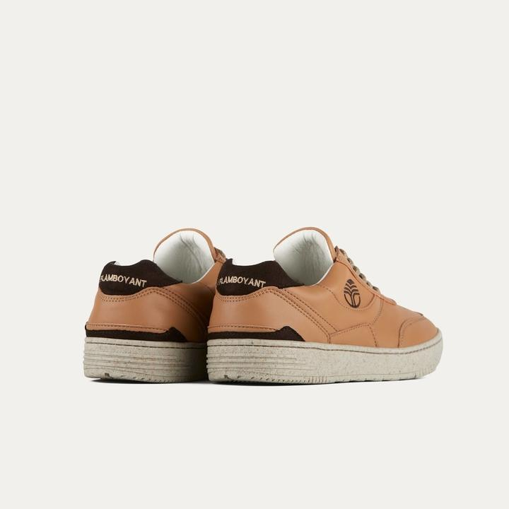 Vegan sneakers BEFLAMBOYANT UX-68 Caramel rear view