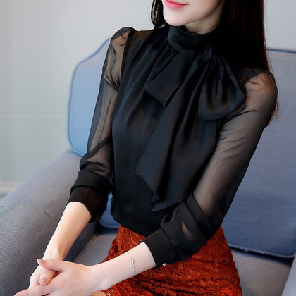 Blouse Shirts Bow Chiffon Turtleneck