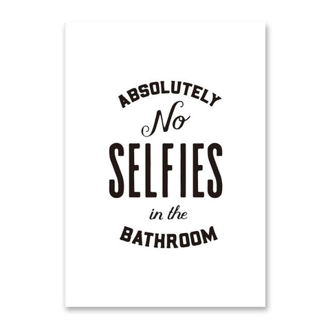 No Selfies Wall Art Bathroom Rules Black And White
