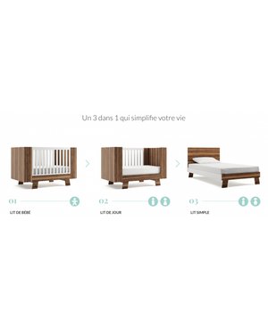 Dutailier Pomelo Collection | White + Walnut - Crib Only