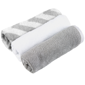 3-Pack Washcloths | Grey Chevron/White Solid/Grey Solid