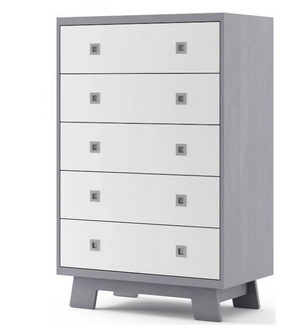 Dutailier Pomelo 5-Drawer Dresser | White + Grey