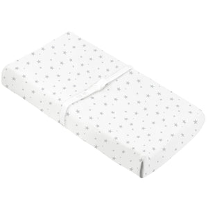 KUSHIES Organic Jersey Change Pad Fitted Sheet | Grey Stars