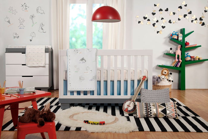 Caspian 4-1 Convertible Crib | White + Grey