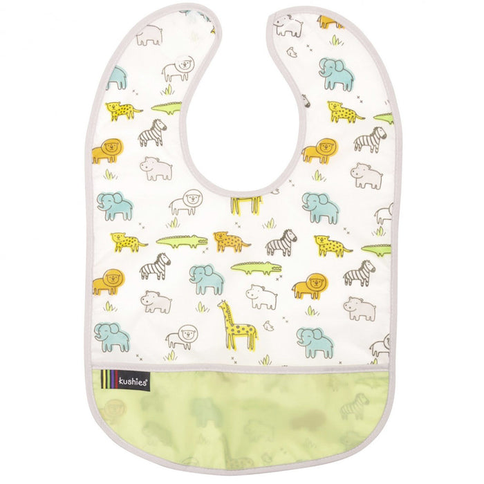 Kushies Waterproof Clean Bib 6-12M | Safari