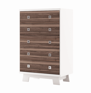Dutailier Pomelo 5-Drawer Dresser | White + Walnut