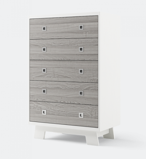 Dutailier Pomelo 5-Drawer Dresser | White + Rustic Grey Walnut