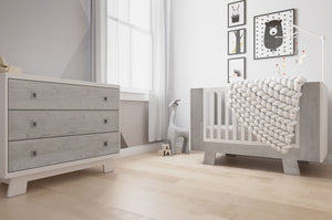 Dutailier Pomelo Collection | White + Rustic Grey - Crib Only