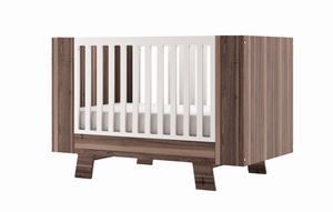 Dutailier Convertible Crib Pomelo | All-Around Rustic Walnut + White